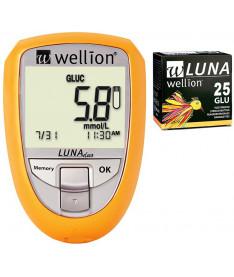 Акционный набор Wellion Luna Duo + тест-полоски №25 (глюкоза)  (Австрия)