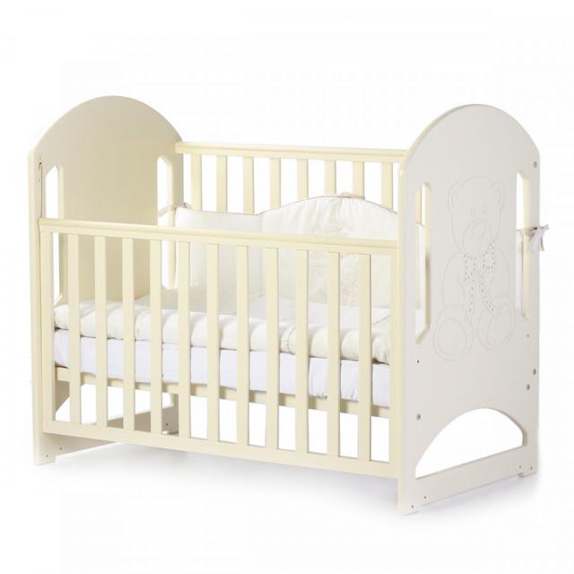 Кроватка детская Верес Соня ЛД8 без колес на ножках, резьба Мишка со стразами, слоновая кость