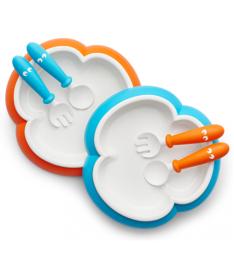 Детский набор из двух тарелок с ложкой и вилкой Baby Plate, Spoon and Fork Orange/Turquoise