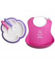 Детский набор из ложки и вилки, нагрудник Baby Bjorn Feeding Set Pink/Purple