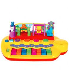 KiddielandPreschool Развивающая игрушка ЗВЕРЯТА НА КАЧЕЛЯХ пианино (свет,звук)