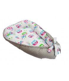 Кокон для новорожденных KIDIGO (Совы-горошек)