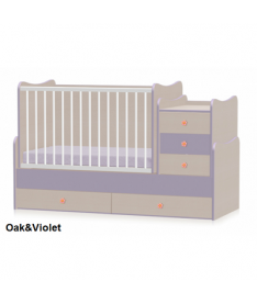 Кроватка Bertoni MAXI PLUS (oak/violet)