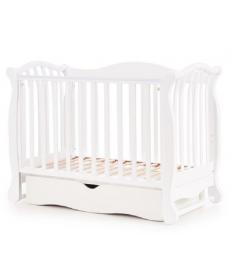 Кроватка детская Верес ЛД19 белый с маятником и шухлядой