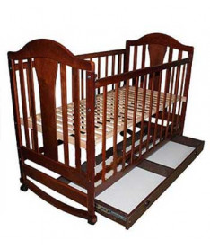 Кроватка Наполеон NEW с ящиком (ольха тонированная) Кнопка