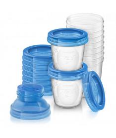Philips Avent SCF618/10 Контейнеры для хранения грудного молока, 10 шт x 180 мл, 10 крышек, 2 адаптера для молокоотсоса