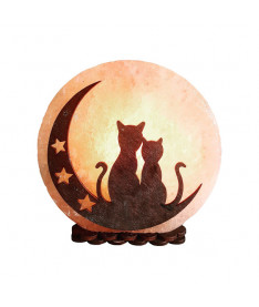 """Соляной светильник """"Коты на Луне"""" (3-4 кг) Saltlamp"""