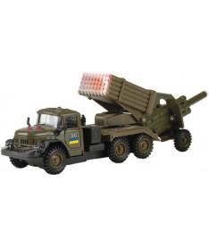 Технопарк ЗИЛ-131 &quotГРАД&quot ВОЕННЫЙ С ПУШКОЙ (солдаты,свет,звук) Набор игровой