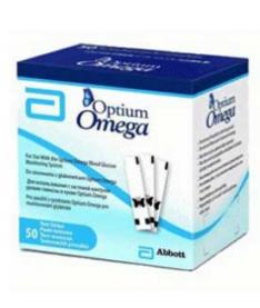 Tест-полоски Optium Omega (50 шт.) в упаковке