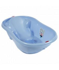 Ванночка детская для купания OK Beby Onda с анатомической горкой и термодатчиком голубая