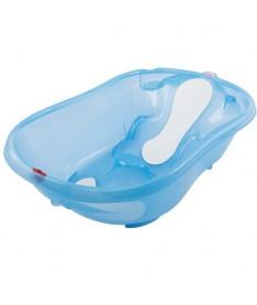 Ванночка детская OK Beby Onda Evolution с анатомической горкой и термодатчиком голубая