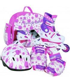 Роликовые коньки раздвижные Tempish UFO Baby skate (комплект защиты) розовые / размер 26-29
