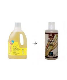 Жидкое органическое средство для стирки цветных тканей Sonett 1,5л + Urtekram Органический шампунь. Тростниковый сахар, 250мл